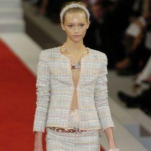 Chanel 05P Runway Fantasy LesageTweed Skirt Set 40